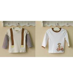 Mom and Bab Boys Longsleeves 2 in 1 - Monkey's Bike - sadinashop.com  T-shirt atau kaos lengan panjang untuk bayi dan anak.
