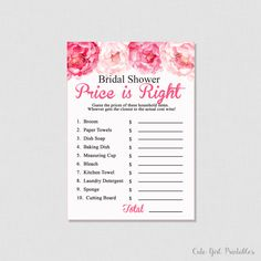 Bridal Shower Games, Pink Peonies Price Is Right Game - Price Is Right - The Price Is Right - Printable - Instant Download - Printable 0012P