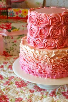 Edible Art / Buttercream Pink Ombre Ruffle And Rosette Tiered Cake