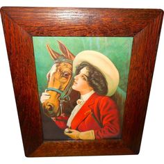 Vintage Print of Horse and Lady Rider in Oak Frame from madgelee on Ruby Lane