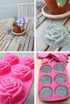Basteln mit Beton – kreative Ideen zum selber machen tinker with concrete table decoration made of concrete Cement Concrete Rose, Concrete Cement, Concrete Table, Concrete Garden, Decorative Concrete, Painting Concrete, Concrete Blocks, Diy Painting, Cement Art