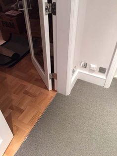 Client: Private Residence In North London Brief: To supply & install grey stair carpet with black border to stairs Grey Stair Carpet, Carpet Stairs, Stairway Lighting, North London, Carpet Runner, Stairways, Flooring, Group, Black