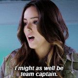 I might as well be team captain. || Skye || AOS 1x02 0-8-4 || 160px x 160px || #animated #quotes