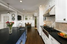 black & white kitchen - light grey paint