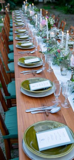 The big table is layouted straight which all guest becomes a family. Garden Wedding, Table Settings, Table Decorations, Weeding, Furniture, Home Decor, Grass, Decoration Home, Weed Control