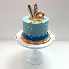Surf theme smooth buttercream cake