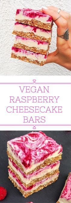 Vegan raspberry cheesecake bars that can be stored in the fridge for weeks! Simple and healthy ingredients. Vegan raspberry cheesecake bars that can be stored in the fridge for weeks! Simple and healthy ingredients. Vegan Treats, Vegan Foods, Vegan Dishes, Paleo Diet, Raw Desserts, Delicious Desserts, Yummy Food, Baking Desserts, Health Desserts