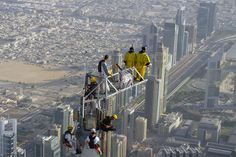 The special platform took a total of 3 days for installation with challenges faced due to weather constrictions limiting the time available for construction. Dubai, Base Jumping, Skydiving, World Records, Burj Khalifa, Challenges, Platform, Weather, Construction