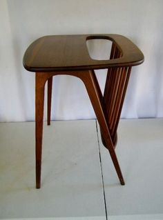 Vintage Danish Mid Century Modern Night Stand End Table Unusual Built In Rack