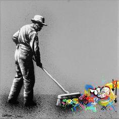 Martin Whatson Stencil Graffiti, Graffiti Murals, Stencil Art, Stencils, Street Art Banksy, Collage, Colossal Art, Sidewalk Chalk, Land Art