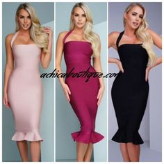 Midi Halter Neck Fishtail Bandage Dress withcut out detail as seen on various…