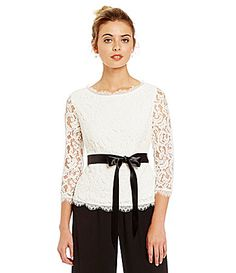 Adrianna Papell Scroll Lace 34 Sleeve Blouse #Dillards