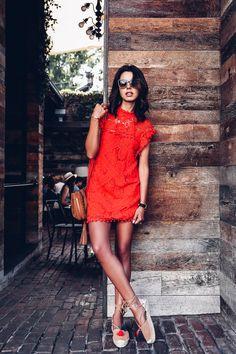 Casual summer outfit idea - little red dress + tassel platform espadrilles