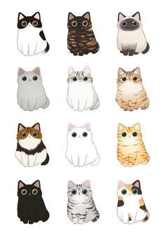 cats illustration * with illustration Cute Cat Drawing, Cute Animal Drawings, Kawaii Drawings, Cute Drawings, Simple Cat Drawing, Kitty Drawing, Drawing Drawing, Tiger Illustration, Illustration Flower