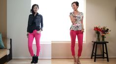 Wear bright jeans with a printed top in the summer and a simple top and leather jacket in the winter.