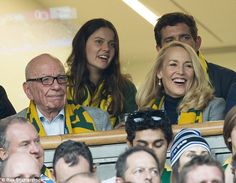 Rupert Murdoch, 84, and new girlfriend Jerry Hall, 59, have been pictured together for the first time in public at the Rugby World Cup final