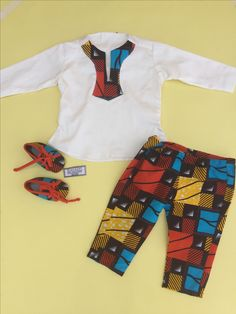 Boys set: Trouser, Shirt, Bib, Shoes made with African Print.