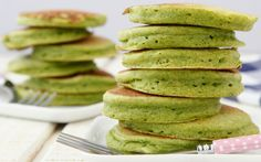 Make these bright green Spinach Pancakes for your next family breakfast! Packed with iron, they're a great way to eat your greens and have fun too! Recipe from Weelicious.com