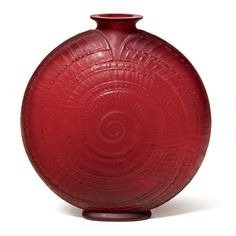 RENÉ LALIQUE `ESCARGOT': A VASE red glass, with frosted surface underside with engraved mark `R. Lalique' 21.2cm.; 8¼in. model created 1920, Marcilhac no. 931
