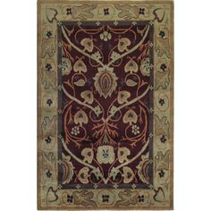 Hand-knotted Tibetan wool rug with a distinct Arts & Crafts design inspired by William Morris wallpapers and Harvey Ellis inlay work. Available from Toms-Price.