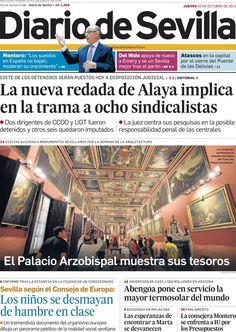Los Titulares y Portadas de Noticias Destacadas Españolas del 10 de Octubre de 2013 del Diario De Sevilla ¿Que le pareció esta Portada de este Diario Español?