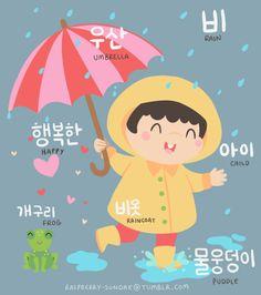 아이 (Child)비 (Rain)개구리 (Frog)물웅덩이 (Puddle)우산 (Umbrella)비옷 (Raincoat)행복한 (Happy)
