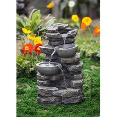 Jeco Inc Rock and Pot Waterfall Water Fountain without Light - Patio Decor - Garden Fountains Garden Water Fountains, Water Garden, Outdoor Fountains, Terrace Garden, Bird Bath Fountain, Fountain House, Desk Fountain, Natural Waterfalls, Waterfall Fountain