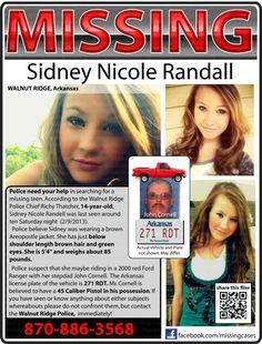 Amber Alert for 14 y/o Sidney Nicole Randall MISSING from Walnut Ridge, ARKANSAS since 3/9/2013