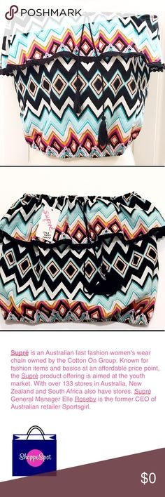 "NWT Supré Boho Girls Strapless Australian Co. Top 😎 NWT Supré Boho Strapless Rare Chic Top 😎  • 1 of the Top Iconic & Well Known Australian Fashion Forward Brands On the market   * Never Worn, Perfect Condition *   • Called Rainbow ZigZag • Elasticized Neck & Bottom • Super Cute Tassel Hangs From Neck, Can Use To Make More Tight Or Left W/ Fringe @  Ends  • Youth Focused, Sizing Sizing Chart & Measurements  • Approx: 14.5"" L, 12.5"" W across the top(measured flat & not stretched),   Thank…"