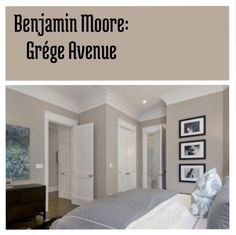 Benjamin Moore Grége Avenue. Beautiful neutral wall color to paint any room. #greige