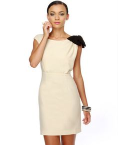 Elegant Cream Dress - Bow Dress - Classy Dress - $55.00