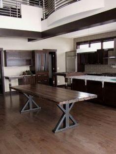 Ideas Farmhouse Table Metal Base Woods For 2019 Farmhouse Table Base, Metal Base Dining Table, Wood Table Legs, Walnut Dining Table, Farmhouse Kitchen Decor, Dining Room Table, Farmhouse Ideas, Metal Tables, Table Bases