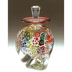 Ralph Mossman and Mary Mullaney Multi-Murrini Perfume Bottle Art Glass Perfume Bottle