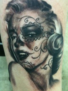 This is my fifth tattoo. I've been raised loving Marilyn Monroe. I wanted the day of the dead make up on her because honestly it's gorgeous, but it also is traditionally used to honor the dead. It took about 3 hours and it going to be added to in the future. It was done by Matt Clemmer in a tattoo convention I was working in TN, but he works from Ohio. He is by far the most amazing person to ever put their art on me and I will be going back to him in the future.
