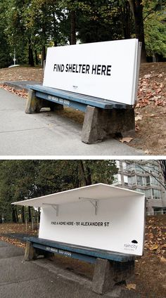 These Park Benches Welcome The Homeless Instead Of Rejecting Them is part of Guerilla marketing - Instead of being designed to thwart a good sleep, these park benches in Vancouver fold out into miniature shelters Guerilla Marketing, Street Marketing, Creative Advertising, Free Advertising, Innovation, Instalation Art, Graphisches Design, Graphic Design, Homeless People