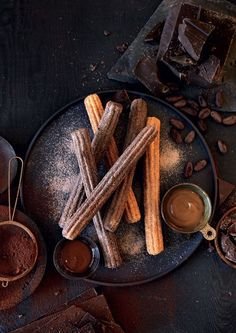 churros with dulce de leche and chocolate ganache