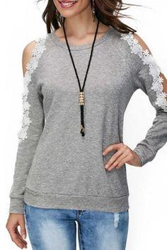 90a99199d7a Round Neck Decorative Lace Color Block T-Shirts. Grey BlouseCold Shoulder  ...