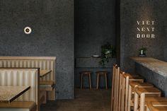 Viet Next Door: Vietnamese Tapas Bar in Adelaide by Genesin Studio, Photo by Jonathan VDK Australian Interior Design, Interior Design Awards, Cafe Restaurant, Restaurant Design, Modern Restaurant, Palette, Bar Seating, Banquette Seating, Restaurants
