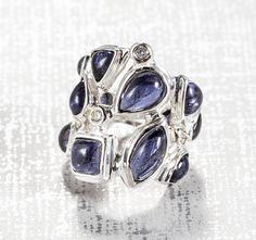 Darby Scott Iolite & Diamond Mosaic Ring (Sterling Silver)