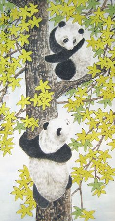 Painting Previews - PaintingsChinese.com Panda Painting, Pet Paradise, Panda Art, Animal Paintings, Chinese Art, Stencils, Oriental, Kids Rugs, Japanese