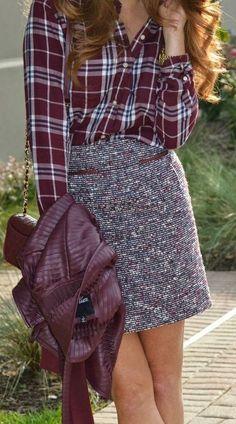 beautiful fall outfit_plaid shirt + bag + skirt + leather jacket