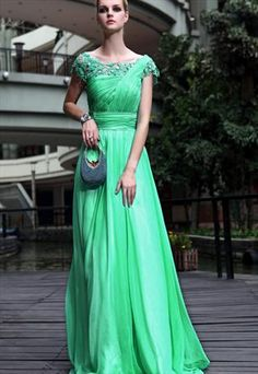 Evening Dress Floral in Green