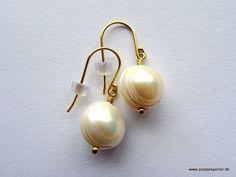 Smukke forgyldt 925 sterling sølv øreringe med store ferskvands perler, leveres i gavepose