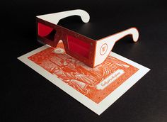 """really cool wedding invitation with """"decoder"""" glasses... the invitation details are hidden beneath the etching."""