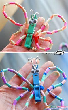 renkli pipetleri keserek kolay kelebek yapalım