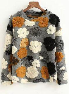 Grey Round Neck Flower Pattern Sweatshirt - abaday.com