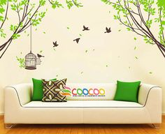 Tree Wall Decal Branches Birds Nursery Vinyl Wall Sticker Tree and Birds Spring Tree 2 Wall decals are currently one of the hottest trends in home Kids Wall Decals, Nursery Wall Decals, Vinyl Wall Stickers, Wall Decal Sticker, Vinyl Wall Decals, Wall Murals, Tree Decals, Nursery Decor, Photowall Ideas