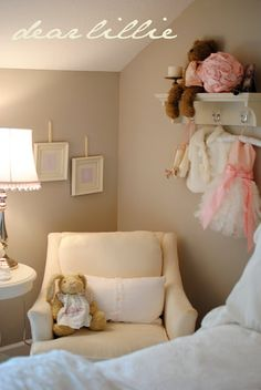 Lillian Annabel's Big Girl Room by Dear Lillie: love the wall color, London Fog Benjamin Moore