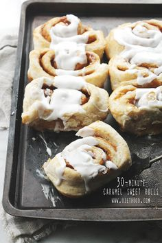 30-Minute Caramel Sweet Rolls   www.diethood.com   30-Minute Caramel Sweet Rolls; no rise time, no kneading, no waiting! They are easy, quick, and best of all, delicious!   #recipe #cinnamonrolls #caramel #sweetrolls
