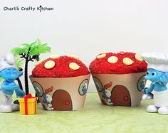 Smurf cupcakes!  Free template on Charli's Crafty Kitchen Facebook page - Facebook.com/Charliscraftykitchen :-)